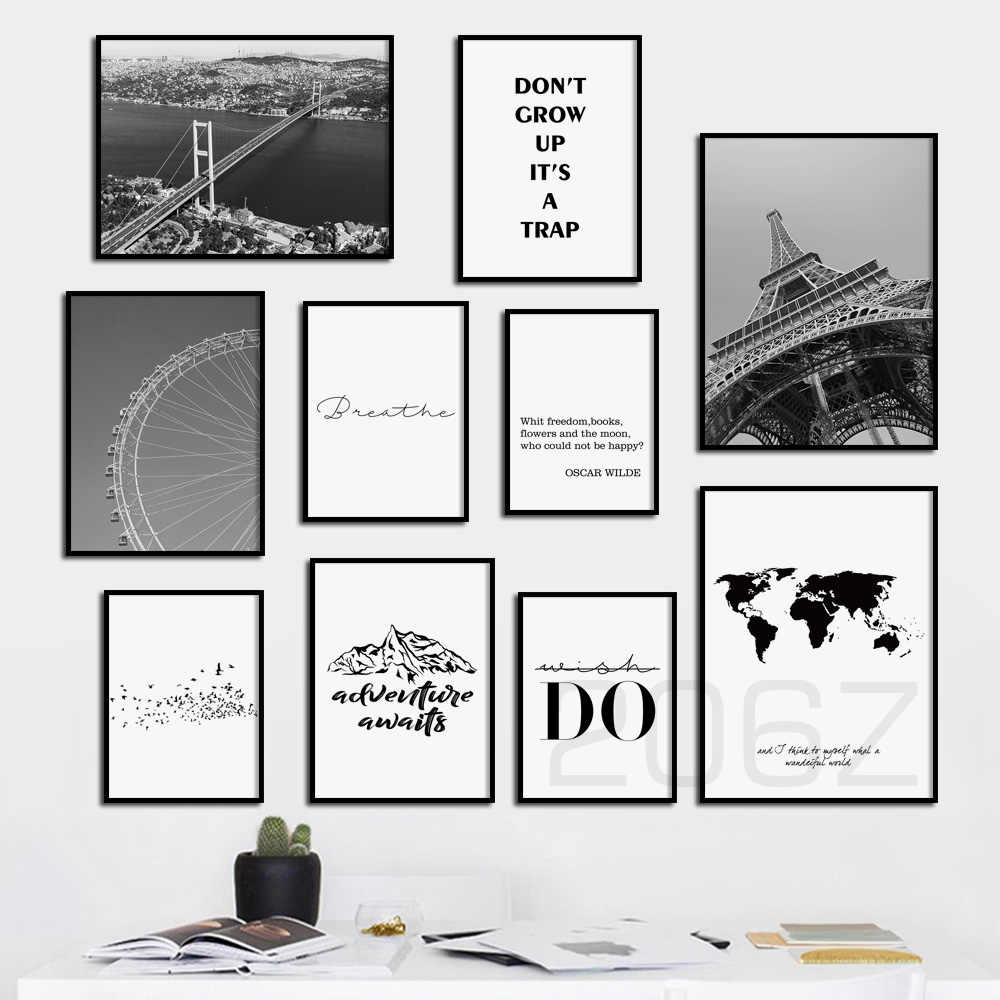Nordic Landscape Poster Travel Paris Tower World Map Do Quote Print Wall Art Canvas Painting Wall Pictures For Living Room Decor