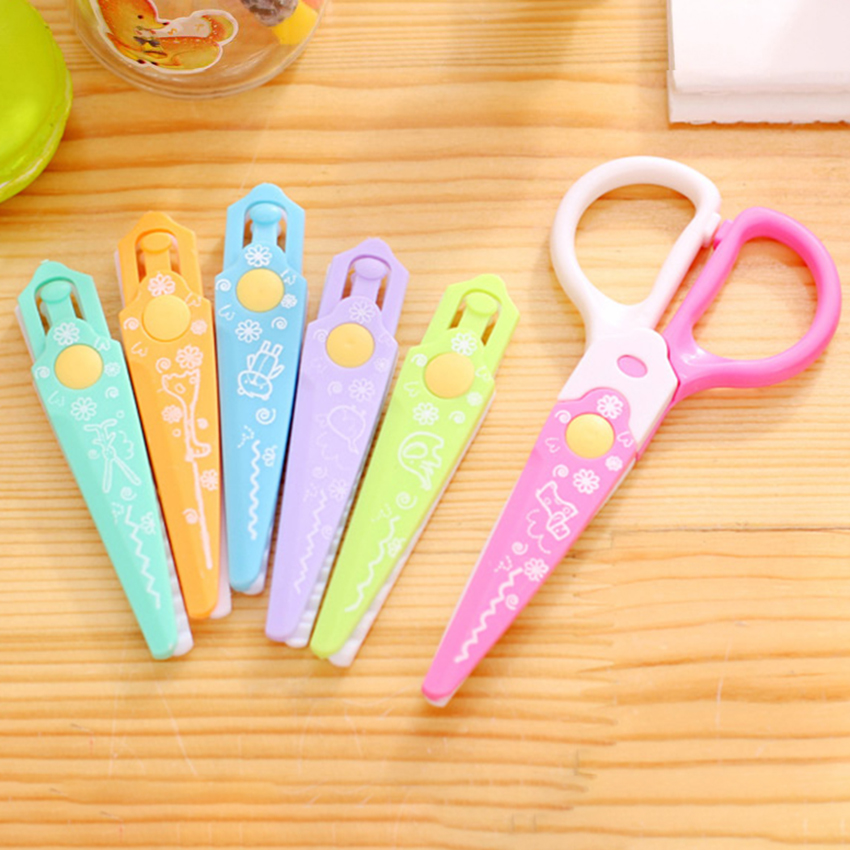 3/6 Head Plastic Art Scissors Different Lace-tooth Shape Shear Kid DIY Pattern Scrapbooking Album Paper Cutter School Stationery