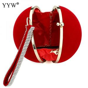 Image 3 - YYW Unique Velvet Iron On Lady Handbag Red Shoulder Clutch Bag Spherical Evening Bags Small Purse Chain Shoulder Bolsos Mujer