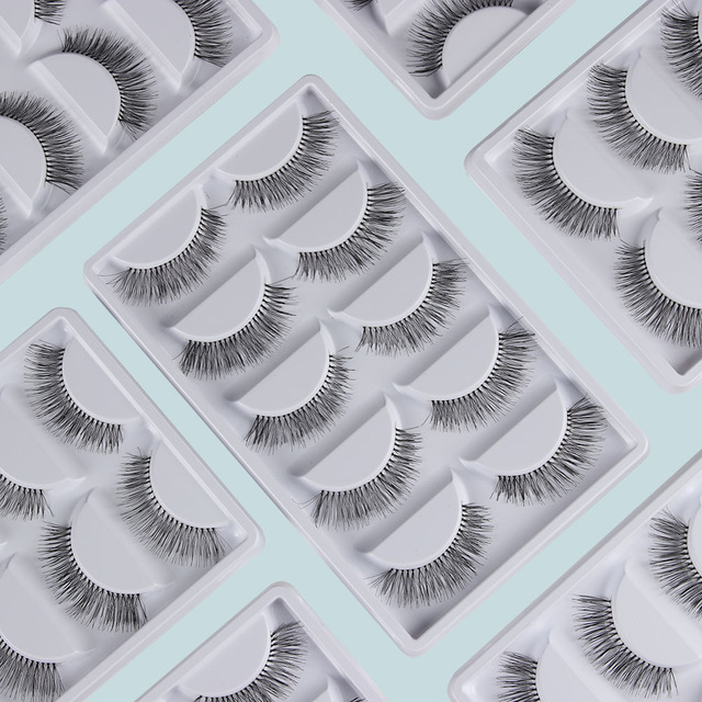 5 Paires Natural Black Long Clairsemée Croix Faux Cils Faux Cils Maquillage Des Yeux Extensions Outils 4