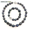 NEW necklace bracelet set big size black blue color baroque Irregular nucleated flame fire ball shape natural Freshwater pearl