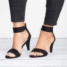 WENYUJH 2019 Women Flock Square Heel Sandals Leopard High Heels Strap Female Zip