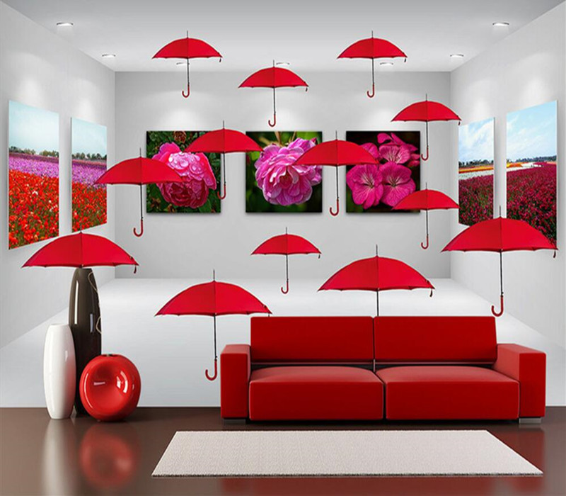Custom 3D Photo Wallpaper Murals Modern Red Umbrella Flowers Space 3D Backdrop Wall for Living Room Bedroom Decor Wall Paper sea world 3d wallpaper murals for living room bedroom photo print wallpapers 3 d wall paper papier modern wall coverings