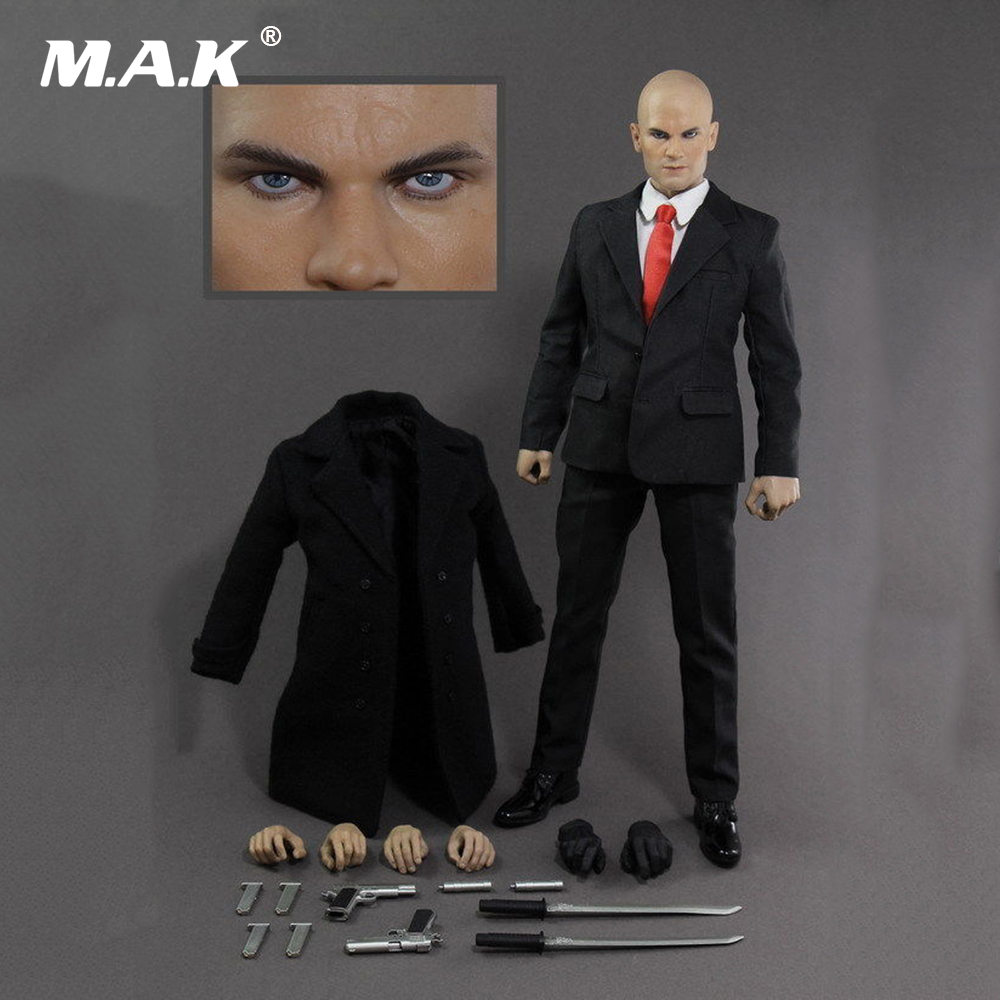 1:6 Scale Hitman 47 12 Male Full Set Action Figure Suit Headsculpt & Body & Clothes & Other Accessory Model Toys for Collection 1 6 scale light machine weapons model wwii german maschinengewehr 34 gun model toys for 12 action figure body accessory