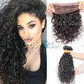 8A Soft 360 Full Lace Frontal With Bundles Peruvian Virgin Hair Loose Curly #1B Natural Hairline With Adjustable Straps