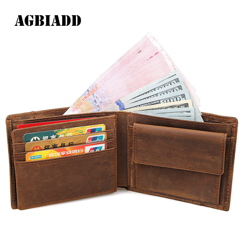 Genuine Cowhide Leather Mens Short Wallet Retro Designer Male Purse European Wallets Card Holder With Coin Pocket B264 mens wallets black cowhide real genuine leather wallet bifold clutch coin short purse pouch id card dollar holder for gift