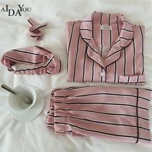 2019 Fashion Women Pajamas Collar Sleepwear 2 Pieces Set Shirt+Shorts Striped Casual Pajama Set OUC3265 Aidayou