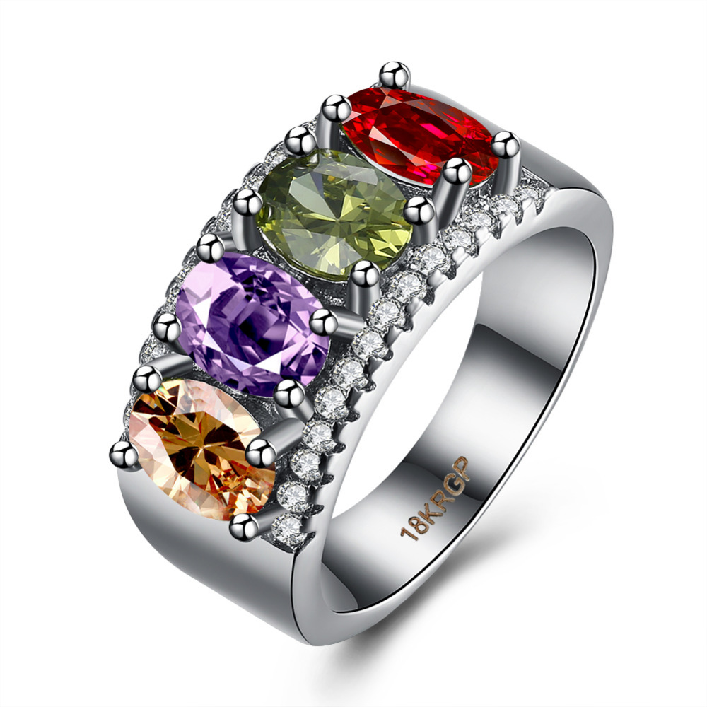 Multiple Layers Colorful Zircon Stone Rings Xmas Wedding Gifts For Her Mum Women