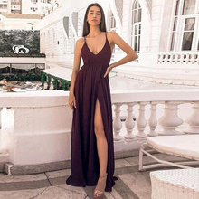 2019 Evening Dresses Long Simple A Line Spaghetti Straps Burgundy Chiffon Prom Party Dress With Split Backless