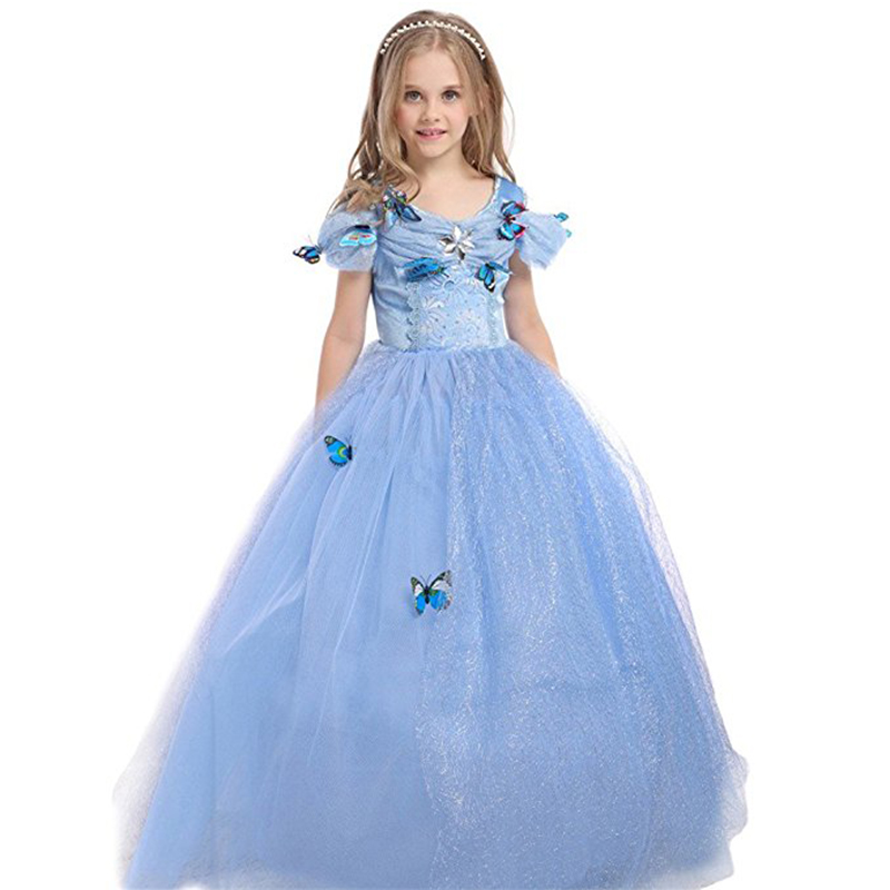 Wedding Baby Children Girls Cinderella Dresses Lace Princess Dress+Butterfly Fairy Evening Party Toddler Clothing Sheer Clothes