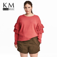 Kissmilk Plus Size 2018 Autumn Solid Red Women Sweater  Butterfly Sleeve Female Pullovers Casual Warm Lady Sweaters 3XL-6XL