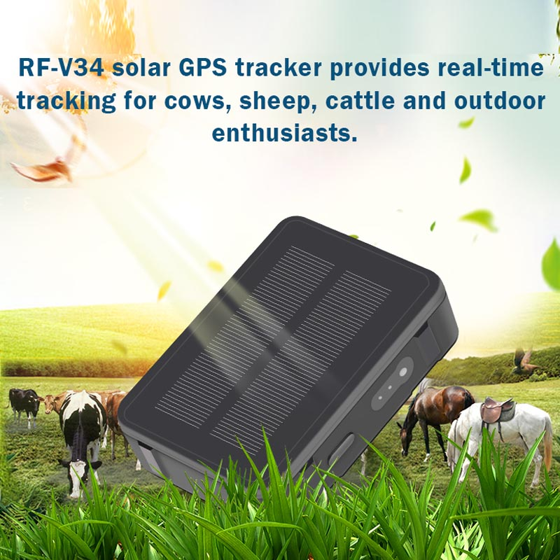 Solar GPS Tracker Power Sheep Cow Cattle  RF-V34 9000mAh Waterproof GSM GPS WiFi Tracking Voice Monitoring Anti-remove SOS Alarm