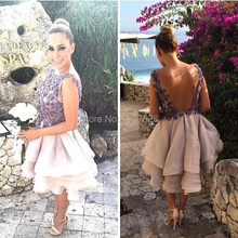 novel Scoop Purple Bridesmaid Dresses With Flower Ball Gown sleeveless short prom dresses backless 2017 unique design WL17