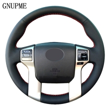 Hand Stitched Artificial Leather Black Car Steering Wheel Cover For Toyota Land Cruiser Prado 2010 2014 Tundra Tacoma 4Runner