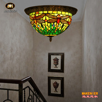 Makenier Vintage Tiffany Style Green Stained Glass Dragonfly Flush Mount Ceiling Light Fixture 12 Inches Lampshade