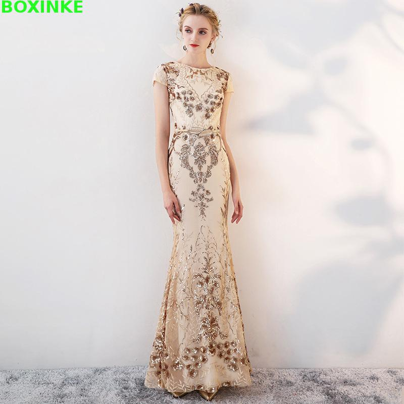 Real Short Ukraine Summer Dress 2019 New Golden Sequin Banquet Long Fishtail Dresses Annual Meeting Host Temperament Sexy in Dresses from Women 39 s Clothing