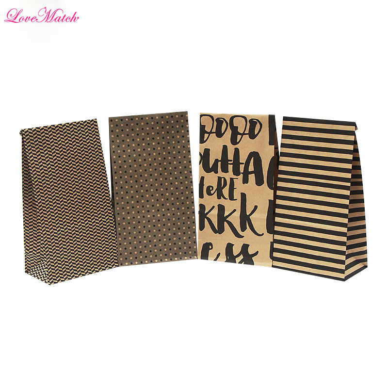 10pcs Gift Bags Christmas Bags Gift Box Kraft Paper Bags Candy Box Packing Paper Box Packaging Cookie Bags