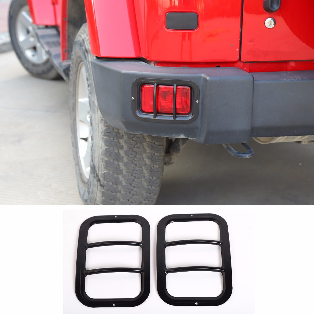 Fit For Jeep Wrangler 2007 2018 Car Rear Bumper Fog Light Lamp Cover Protection Styling Trim