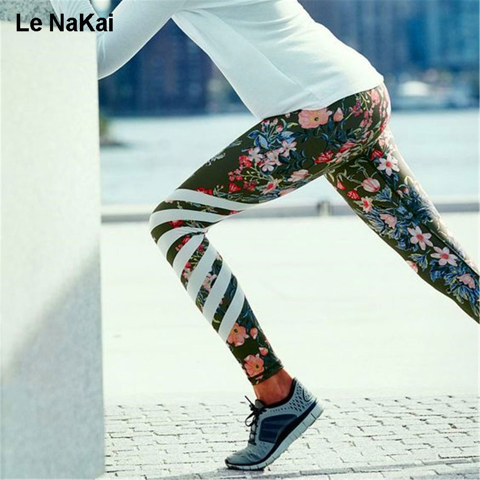 Comfy Smooth Tulip Floral Print Yoga Leggings High Waist Compression Yoga Pants For Women Fitness Art Dance Legging By Le NaKai yoga floral print ombre leggings