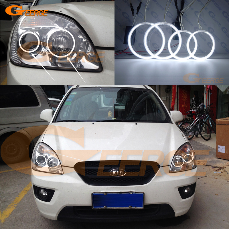 For KIA Rondo Rondo7 2006 2007 2008 2009 2010 2011 2012 Excellent Ultra bright illumination CCFL Angel Eyes kit Halo Ring hochitech excellent ccfl angel eyes kit ultra bright headlight illumination for kia sorento 2006 2007 2008 2009