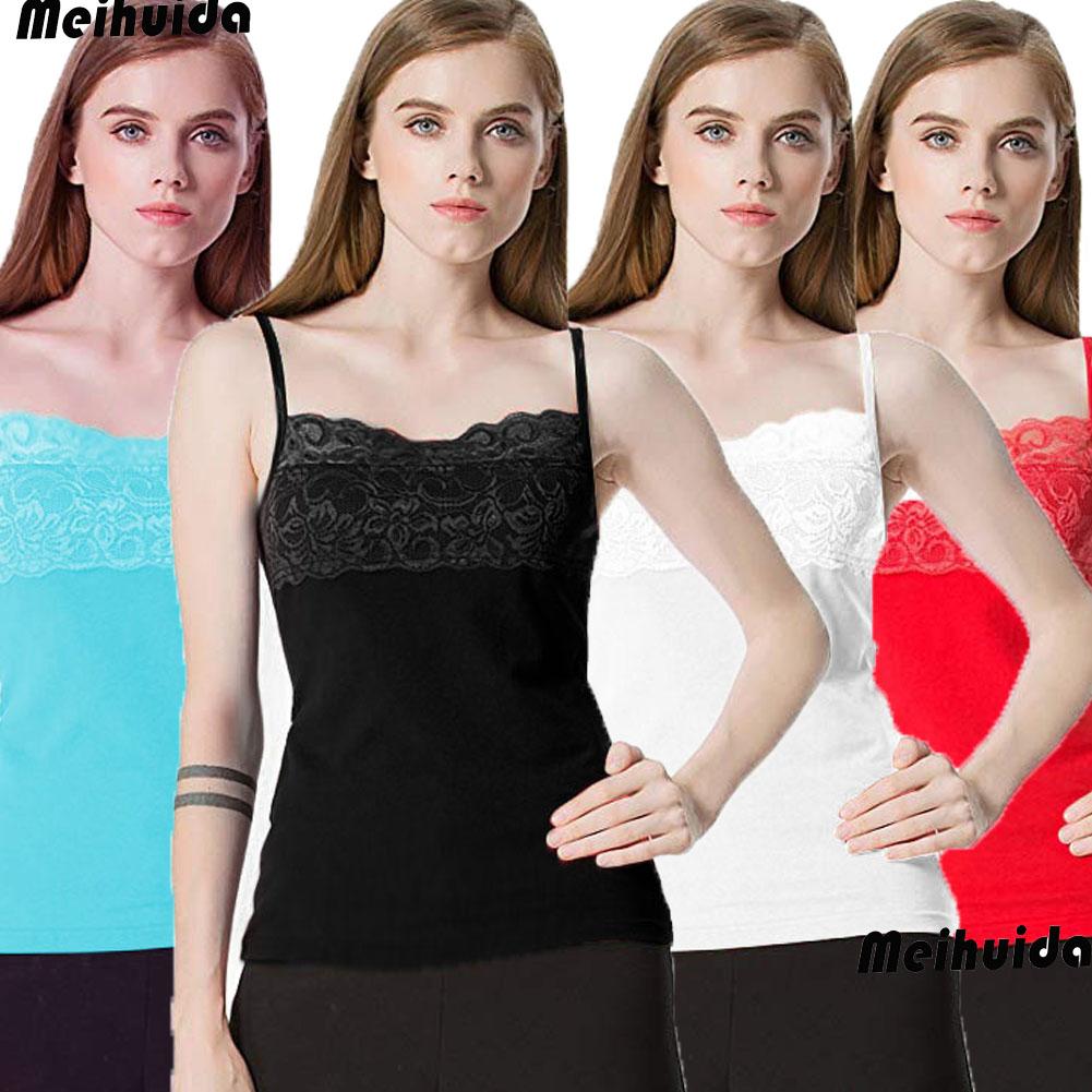 Womens Vest Camisole Cami Cotton Womens Top Neck Design Lace Trim Tank Strappy