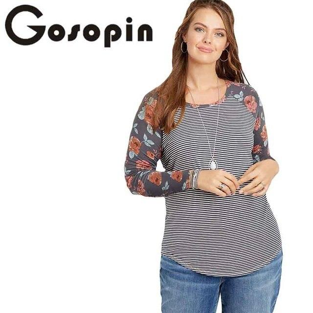 b34bd460 Gosopin Women Spring T Shirt Plus Size Gray Floral Print Sleeves Striped Baseball  Tee Long Sleeve O Neck Ladies Tops LC251595