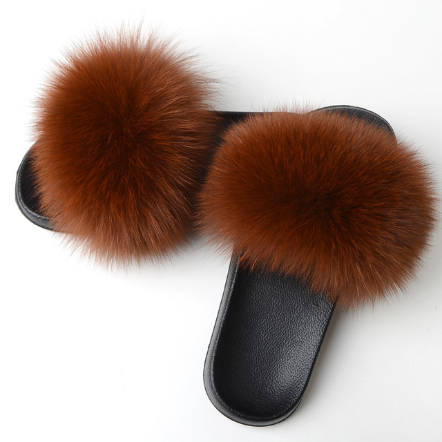 771792183b98 RASS PLE 2019 Real Fox Slippers Slides Shoes Furry Fuffly Slippers Flip  Flops Sandals Sliders EVA Bottom Summer Shoes Women Lady-in Slippers from  Shoes on ...