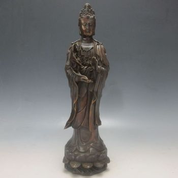 10.8'' Elaborate Chinese Copper Hand-Carved Kwanyin Statue with Qing dynasty Make