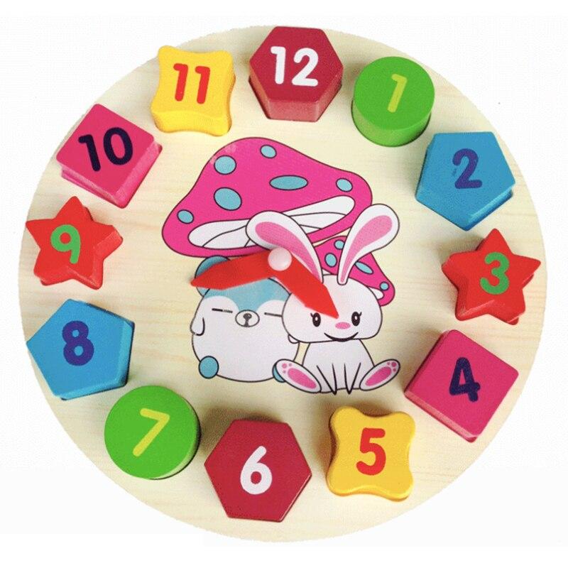 Hot Sell Shape of wooden clock building blocks toys for children Education toys Digital Geometry Clock kid toys
