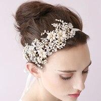 Fashion Luxury Gold Flower Leaf Ribbon Wedding Headband Crystal Rhinestone Hair Vine Pearl Head Pieces Bridal