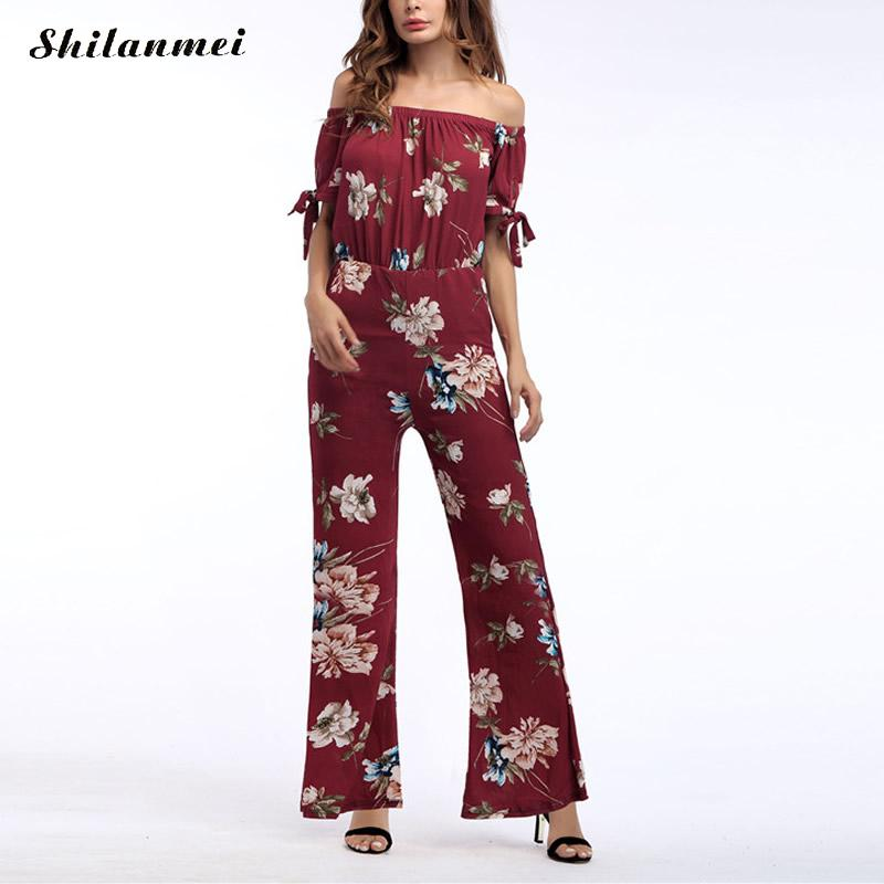 Jumpsuits for Women 2017 Casual Jumpsuit Ladies Off The Shoulder Short Sleeve Print Floral Bodysuit Playsuits Backless Overalls