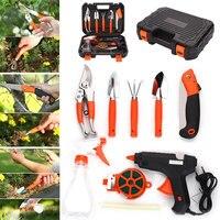 9pcs Silver Gardening Toolbox Gardener Tools Multifunctiona Kit Portable Practical Durable Garden Tool Set Shovel Rake
