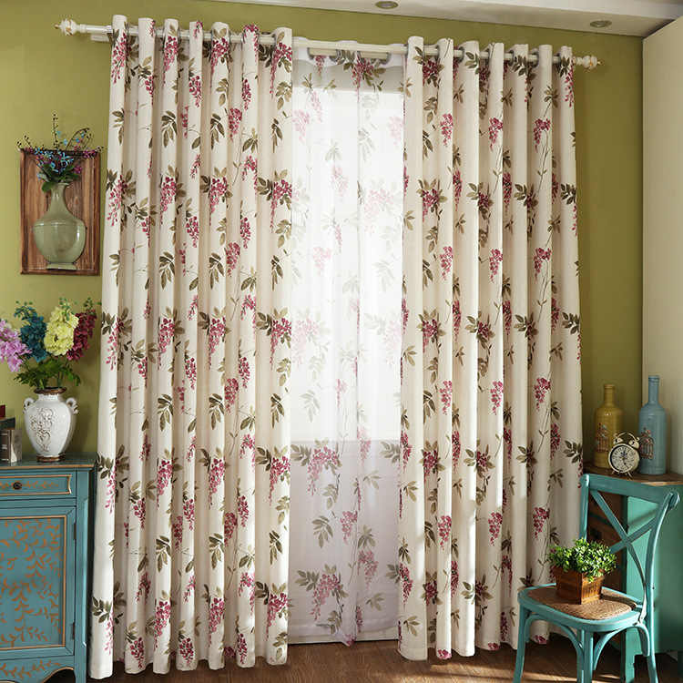 Pastoral Cotton Printing Curtains for Living Dining Room Art Korean American Country Curtains for  Bedroom Fabric Custom