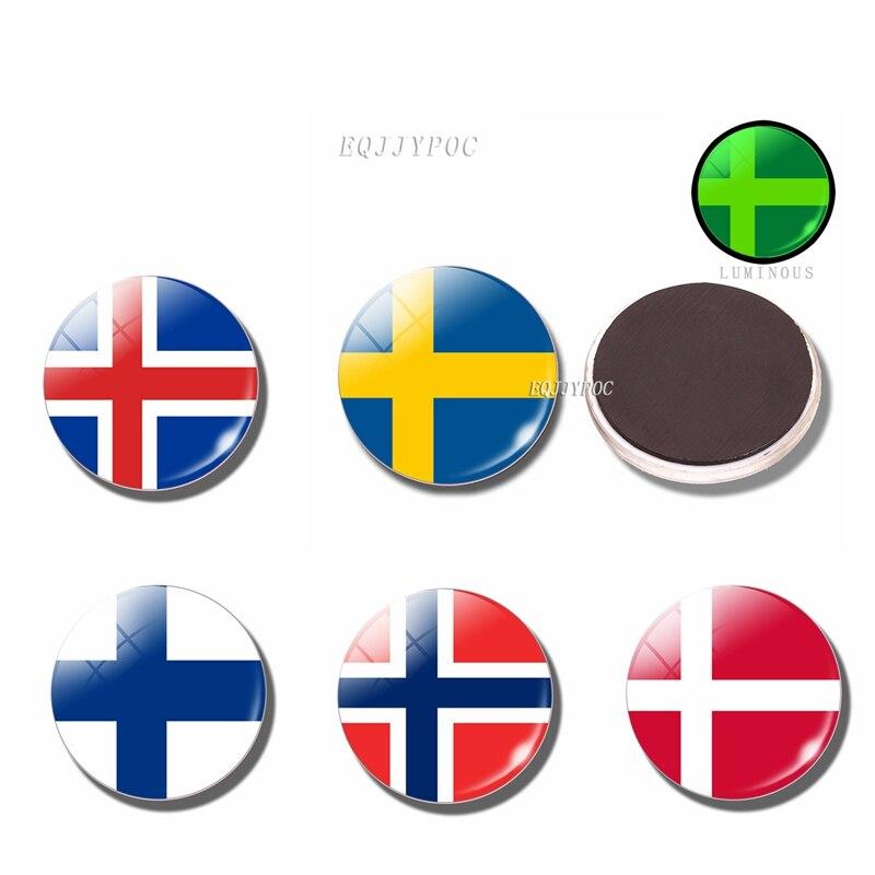 Светящийся магнит на холодильник скандинавские страны флаг Финляндия Швеция Норвегия Исландская Дания 30 мм стеклянный магнит на холодильник DIY орнамент