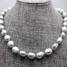 Jewelry Pearl Necklace Real 9-10MM Natural Silver Gray Akoya Cultured Pearl Baroque Necklace 18inch Free Shipping(China)