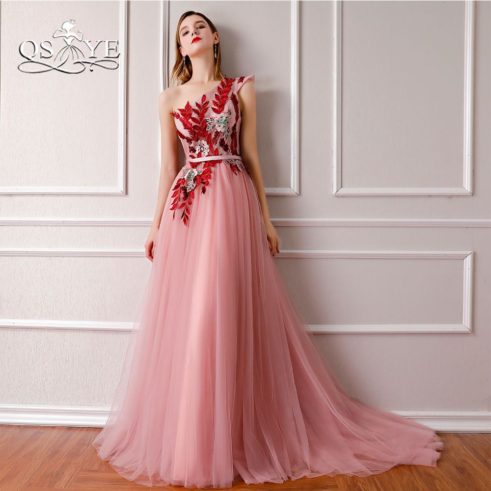 QSYYE 2018 New Arrival One Shoulder Formal   Evening     Dresses   3D Floral Lace Floor Length Tulle Long Prom   Dresses   Robe de Soiree