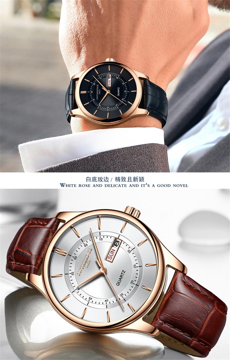 HTB1y6qMi9tYBeNjSspkq6zU8VXaK High Quality Rose Gold Dial Watch Men Leather Waterproof 30M Watches Business Fashion Japan Quartz Movement Auto Date Male Clock