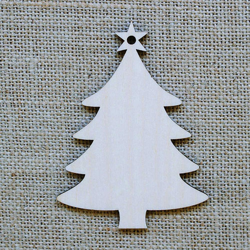 10pcs ไม้แผ่นแขวนจี้คริสต์มาสปาร์ตี้ตกแต่งแขวนเครื่องประดับสำหรับต้นคริสต์มาสอุปกรณ์