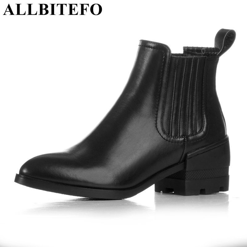 ALLBITEFO genuine leather pointed toe Elastic band thick heel martin boots brand medium heel women boots ankle boots girls shoes