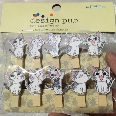 10 Pcs/lot Kawaii Black And White Cat  Wooden Clip Photo Paper Clothespin Craft Clips Party Decoration Clip With Hemp Rope