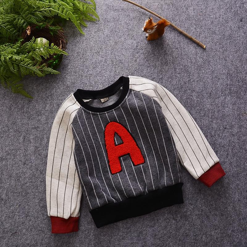 Crianças meninos t shirt do bebê de inverno o pescoço manga comprida  listrada letra impressa velo hoodies grossos criança t-shirt casual quente  outwear bdec24d9290