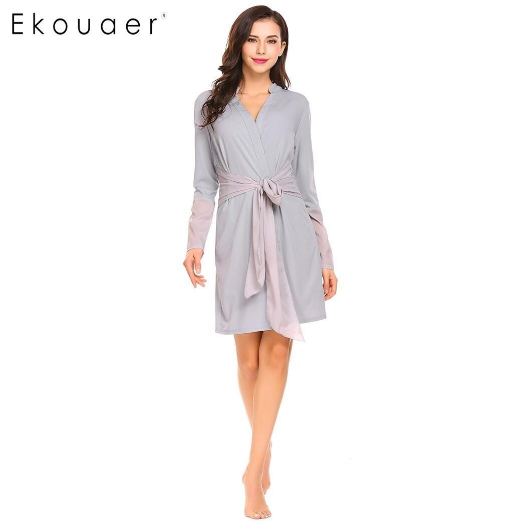 a478acc9199e0 Ekouaer femmes Robes décontracté vêtements de nuit col en v profond manches  longues peignoir en mousseline