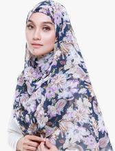 Thick bubble chiffon hijab scarf printed in blue striped long shawls wrap muslim hijabs  designs scarves/scarf