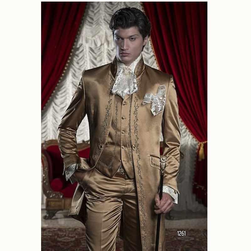 Gwenhwyfar חום כסף רקמת גברים חליפת חתן טוקסידו בלייזר (מעיל + מכנסיים + אפוד) השושבינים Mens חליפות חתונה לנשף המפלגה