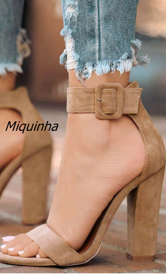 Chic Light Brown Suede Chunky Heel Sandals Classy Line Buckle Style Block Heel Dress Sandals Women Fashion Street Shoot Shoes pu line style buckle block heel womens sandals