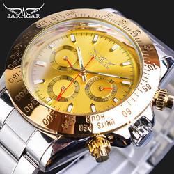 Jaragar Golden Automatic Men Wristwatch 3 Sub Dial Design Calendar Big Watches Steel Strap Mechanical Luxury Business Clock Gift