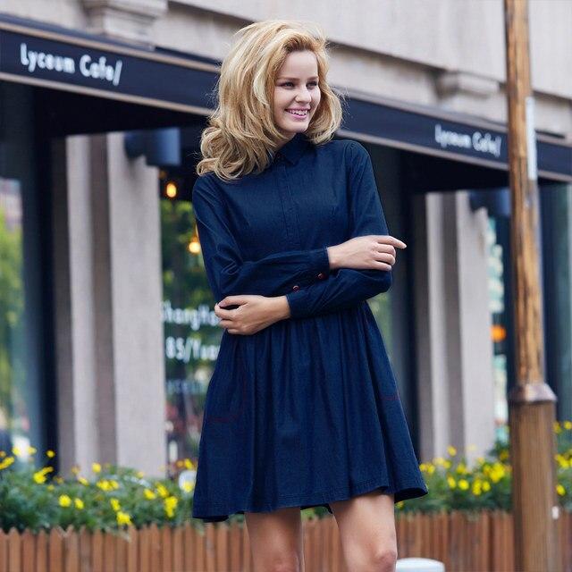 b597a6b0b2c Online Shop Veri Gude Autumn Dress Full Sleeve Denim Dress for Women ...