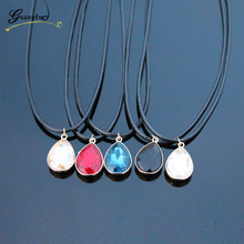1PCS Fashion Jewelry Crystal Drop Shape Pendant Necklace Imitation Leather Rope Chain Collares Bijoux For Women Colier