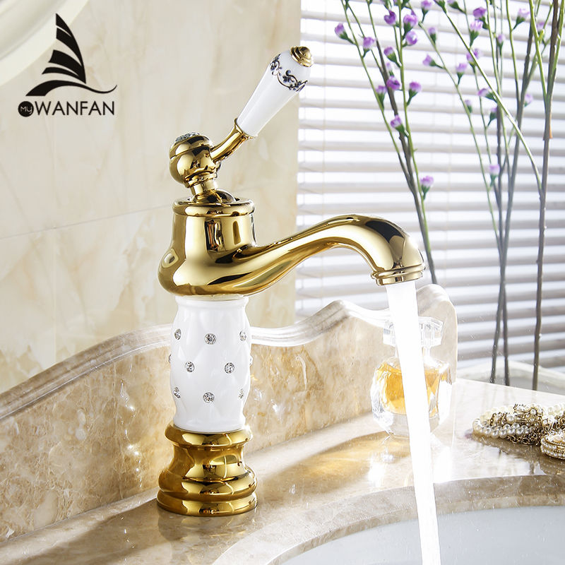 Basin Faucets Euro Gold finish Luxury Bathroom Basin Crane Small Single Handle With Diamond Vanity Sink Mixer Water Tap 58K basin faucets brass gold deck bathroom sink faucet single handle euro luxury horse head diamond bath vanity mixer water tap 818k