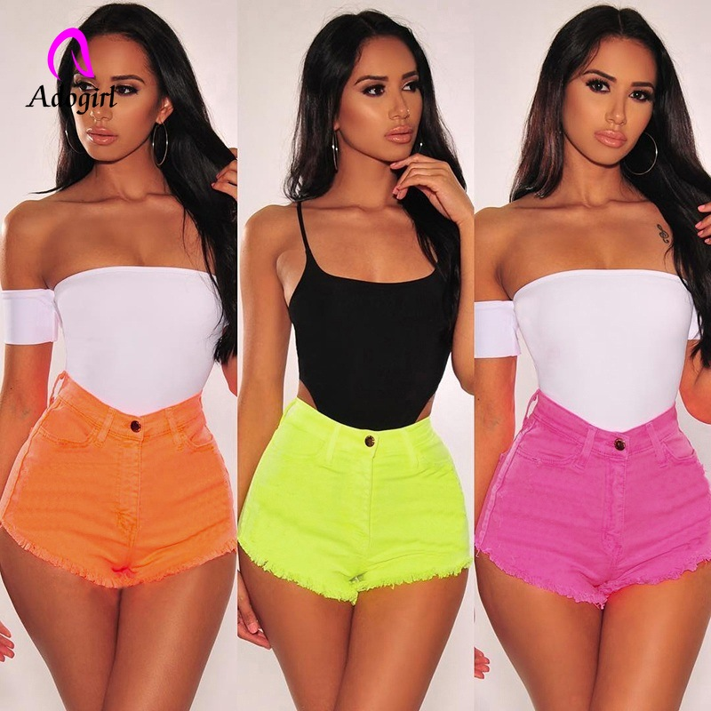 Yellow Women Summer High Waisted Denim Shorts Jeans Women Short 2019 New Femme Push Up Wide Leg Denim Shorts Tassel Hot Shorts